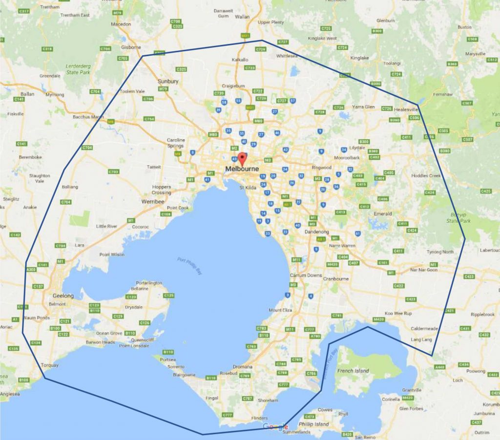 Toilet servicing area Melbourne Map